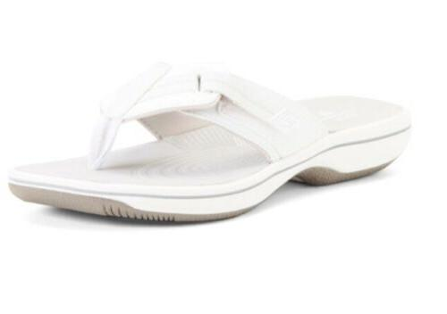 clarks cloudsteppers white flip flops sandals size
