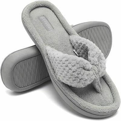CIOR Fantiny Women's Cozy Memory Foam Spa Thong Flip Flops H