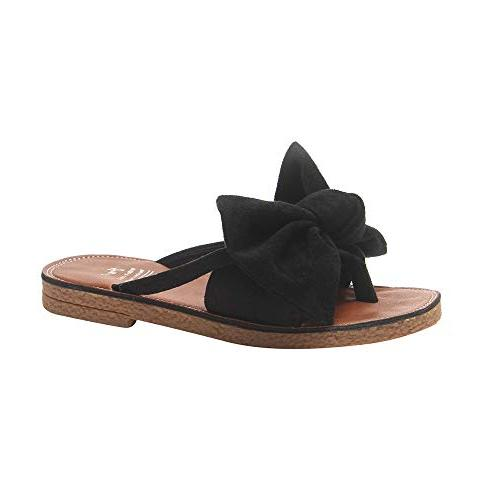flip flop sandals solid bow
