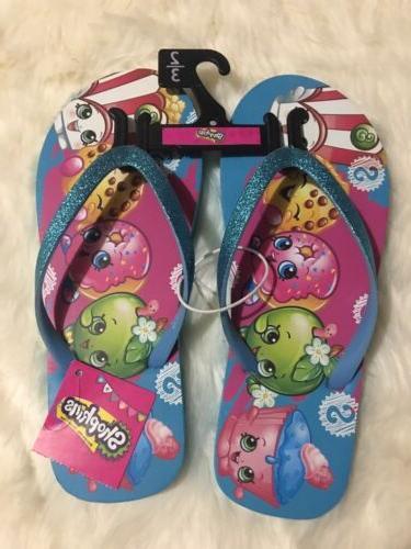 flip flops sandals blue glitter strap girls