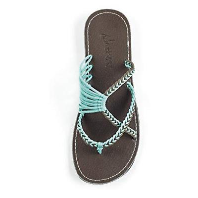 Plaka Flip Flops Slide Sandals for Women Turquoise Gray 9 Oc