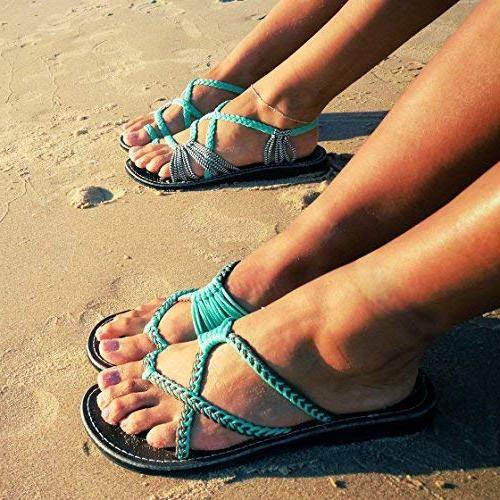 Plaka Flip Sandals for Women Turquoise Gray 8