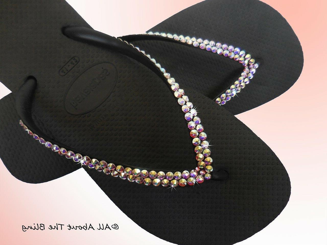 Havaianas strap with Swarovski rhinestone iridescent