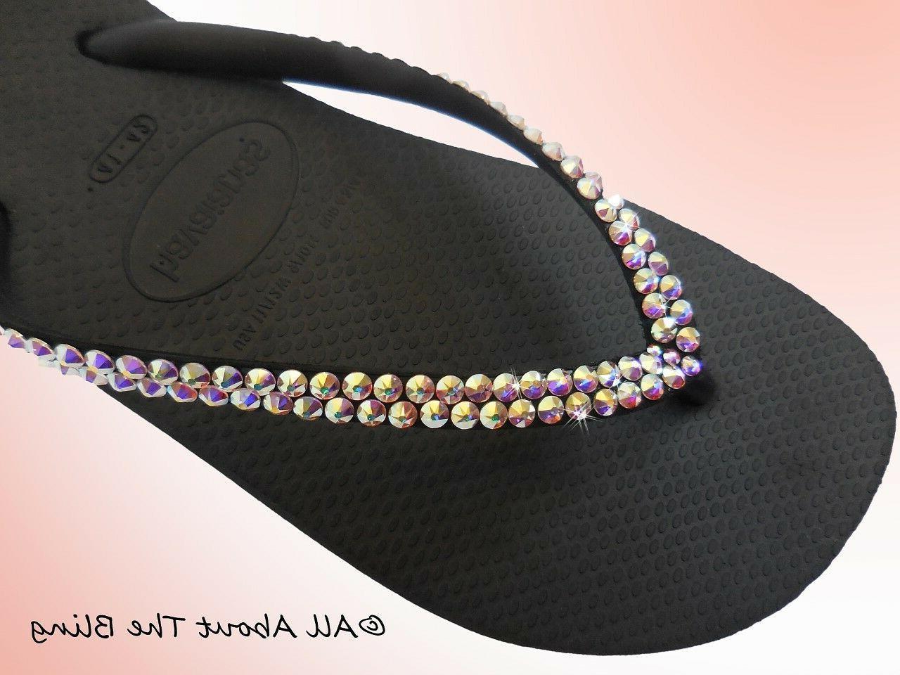 flip flops slim strap with swarovski crystals