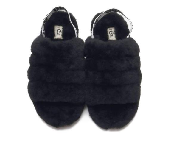 UGG Black Fur Slipper Sandal Women's
