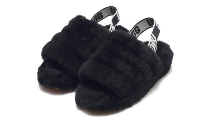 fluff yeah slide black fur slipper sandal