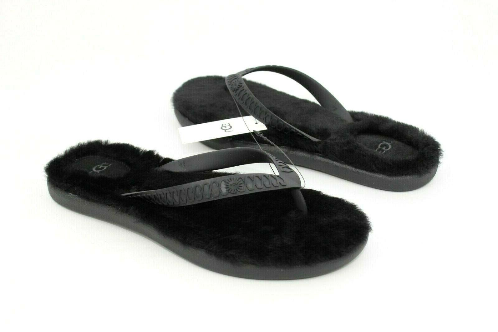 fluffie sheepskin pool beach flip flops black