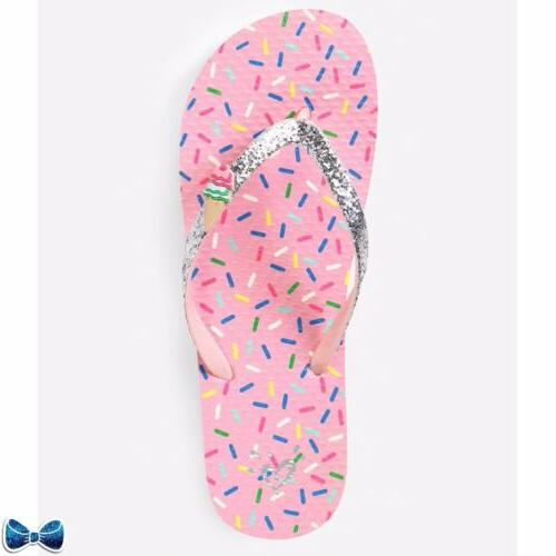 Justice Girls Size 2-3 🍦Ice Cream Charm Flip Flops New Wi