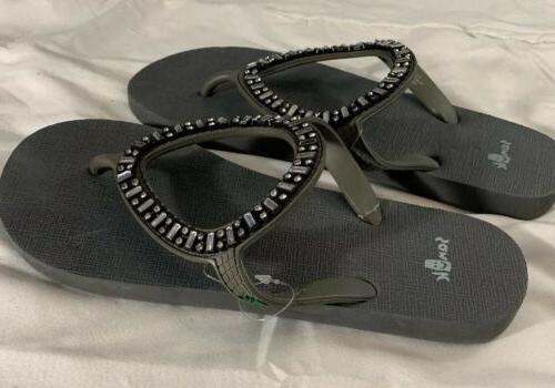 ibiza monaco flip flops grey rhinestone womans