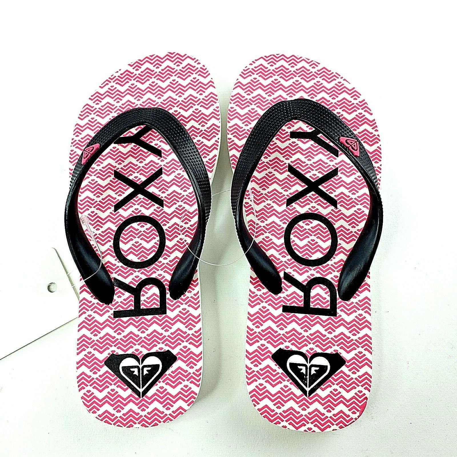 Roxy Jujubee II Flip-Flops Hot Pink White Chevron NEW