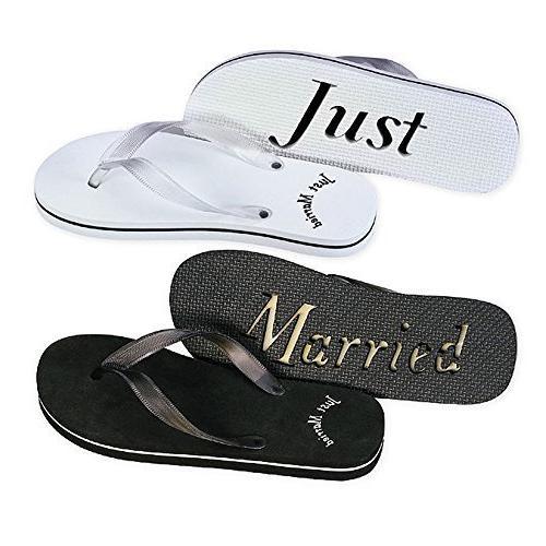 just married flip flop sandals set of