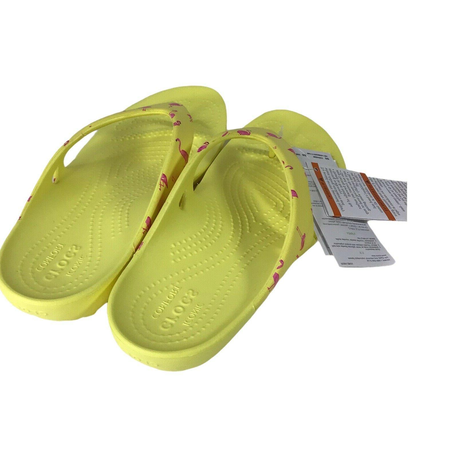 Crocs Kadee Graphic Flops w/ Pink Flamingos Pick Size