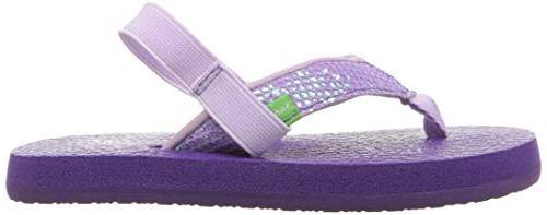 Sanuk Kids Glitter Flip-Flop, Purple-with 7/8 US Toddler