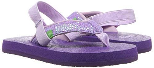 Sanuk Kids Glitter Purple-with Strap, 7/8 M Toddler