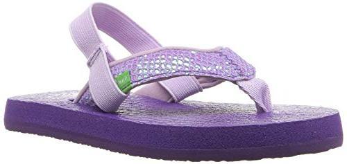 kids girls yoga glitter flip flop purple