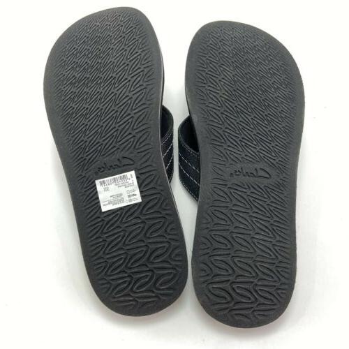 Clarks Men's Lacono Black Leather Flops Size