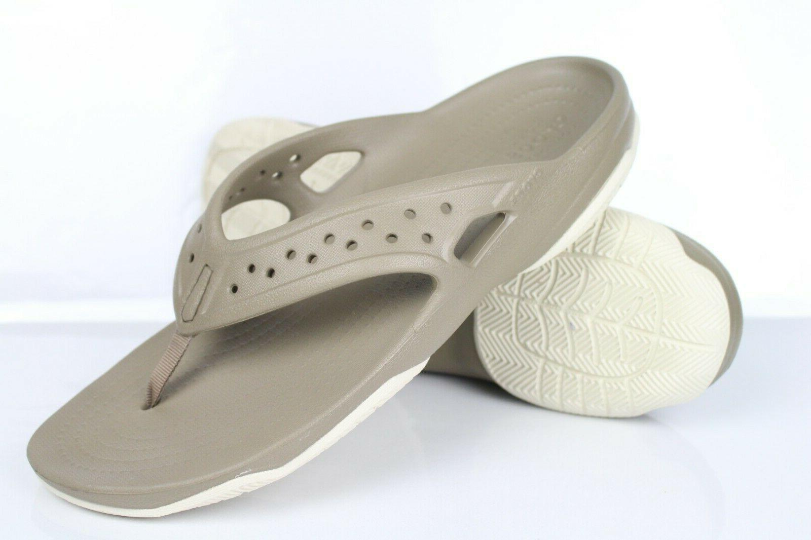 Crocs Men's Swiftwater Deck Flip Flops Size Khaki