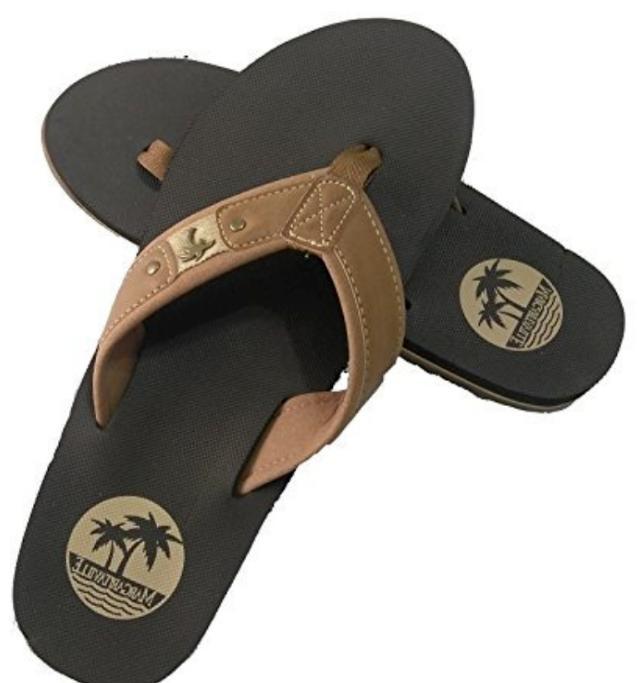 mens brown leather upper plush flip flops