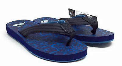 Quiksilver Mens Print Flip Flop Slide Sandals Black Size 12