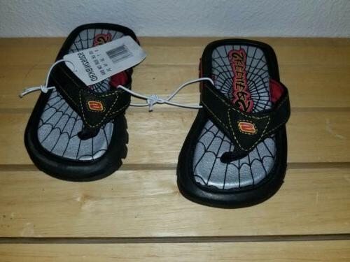 new flip flops black red spider webbing