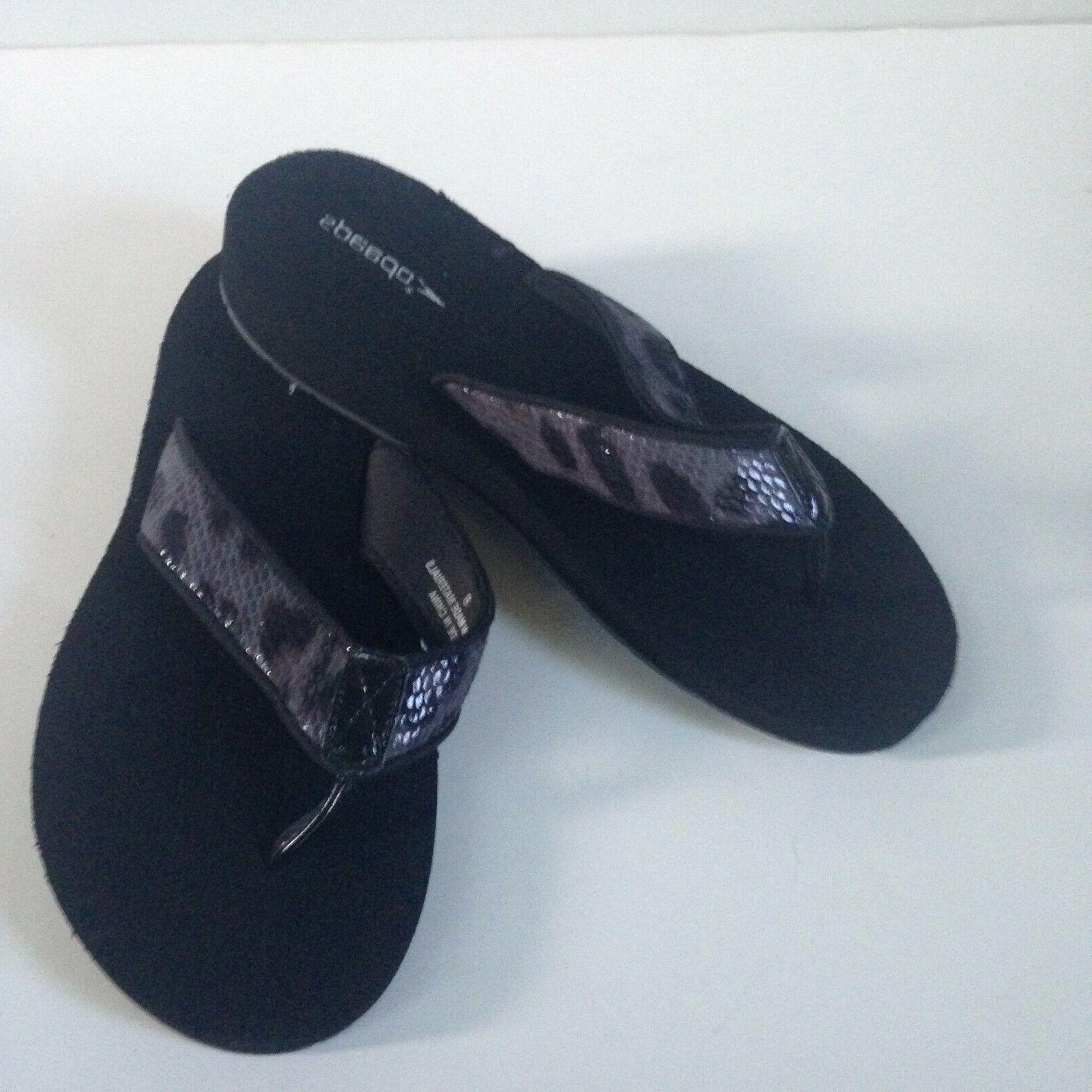 NEW! Flip Women's Gray Black Faux Snakeskin Rubber