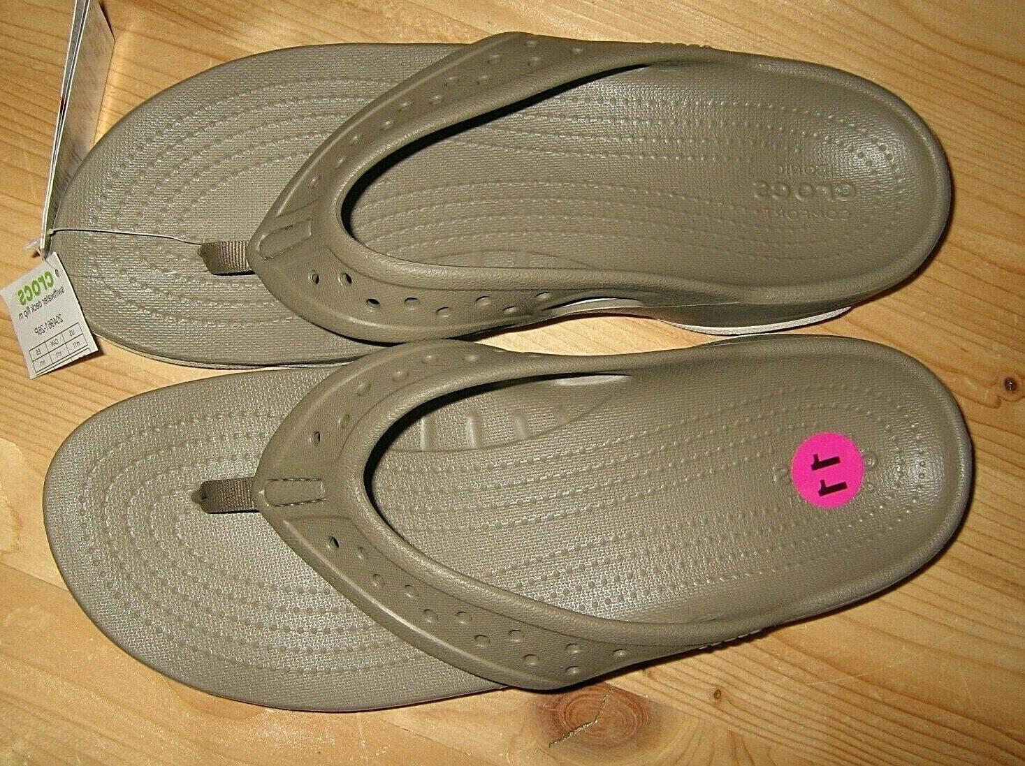 NEW Khaki Crocs Swiftwater Deck Flop Sandals 204961-26P
