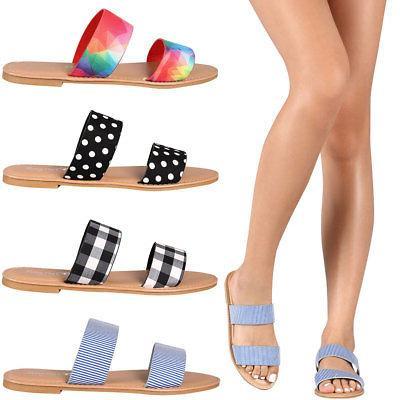 new women dual band open toe slide