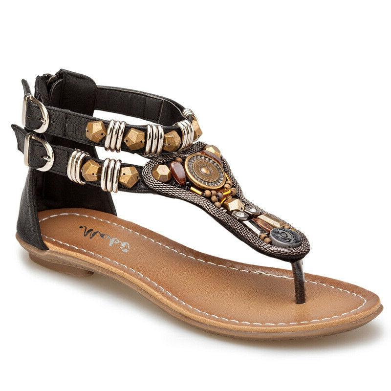 New Women Gladiator Sandals Flat T Strap Size Strappy Toe