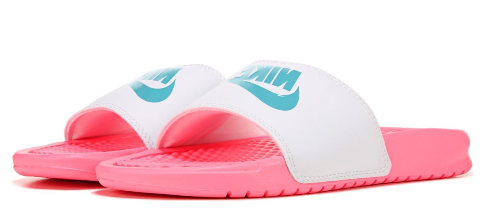 New Women's Nike Benassi JDI Slides Sandals Flip-Flops White