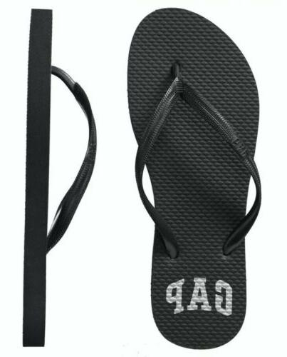 new women s black logo flip flops
