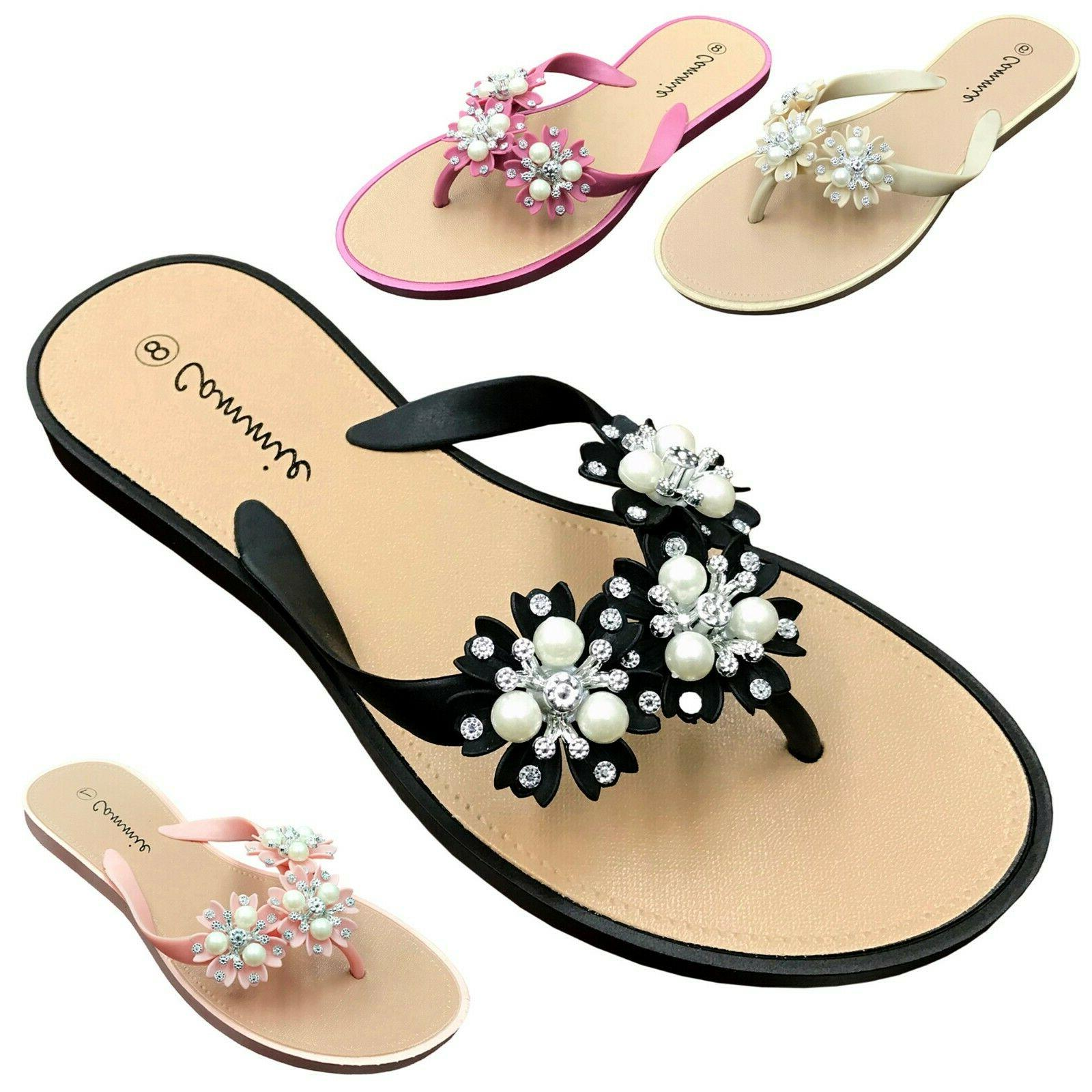 new women s flower pearl rhinestone sandals