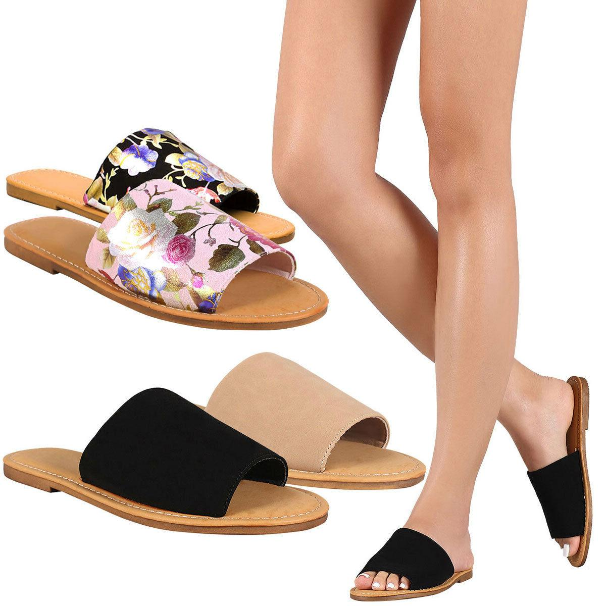 new womens wide band open toe slide