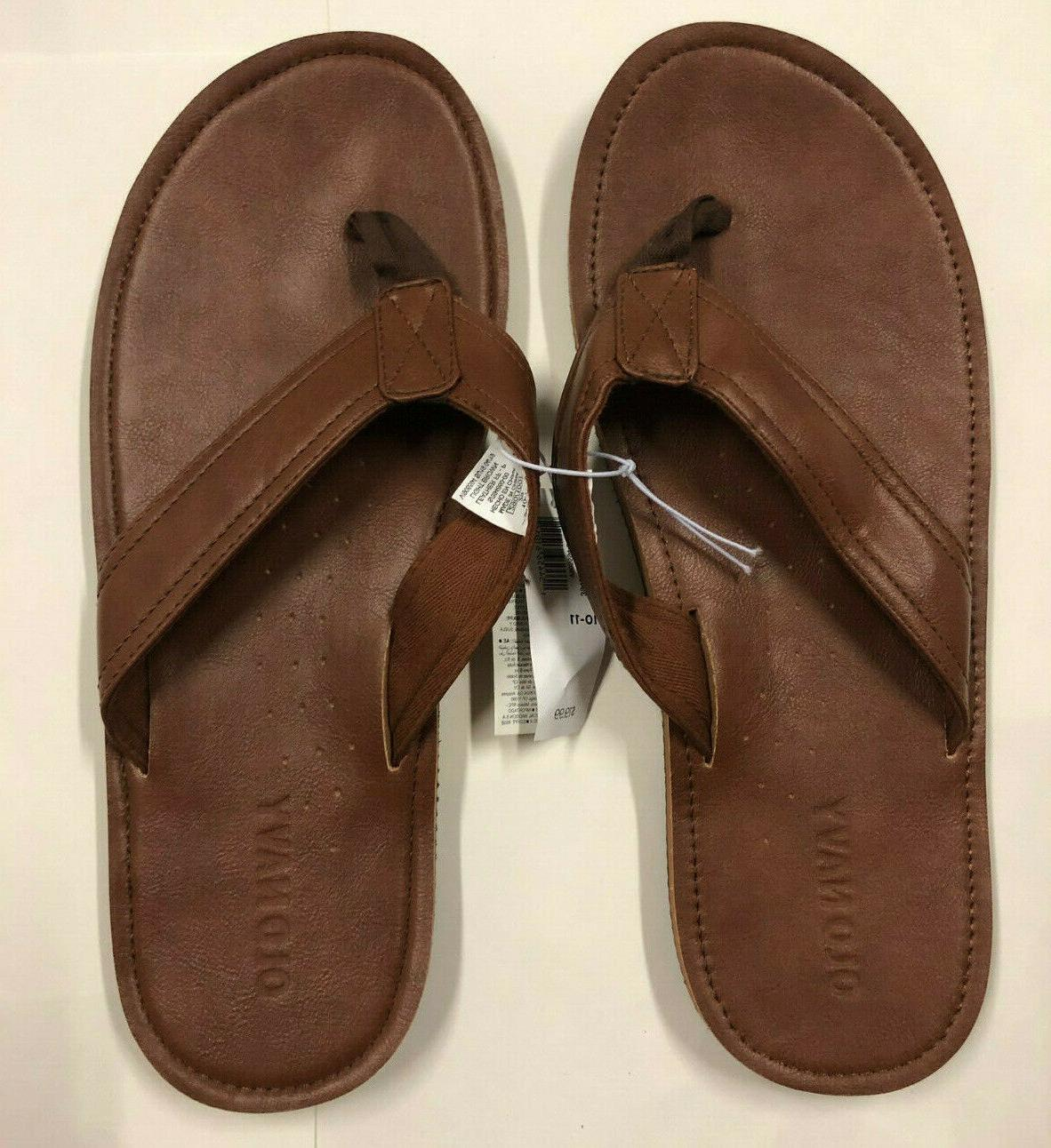 nwt mens brown leather thongs sandals flip
