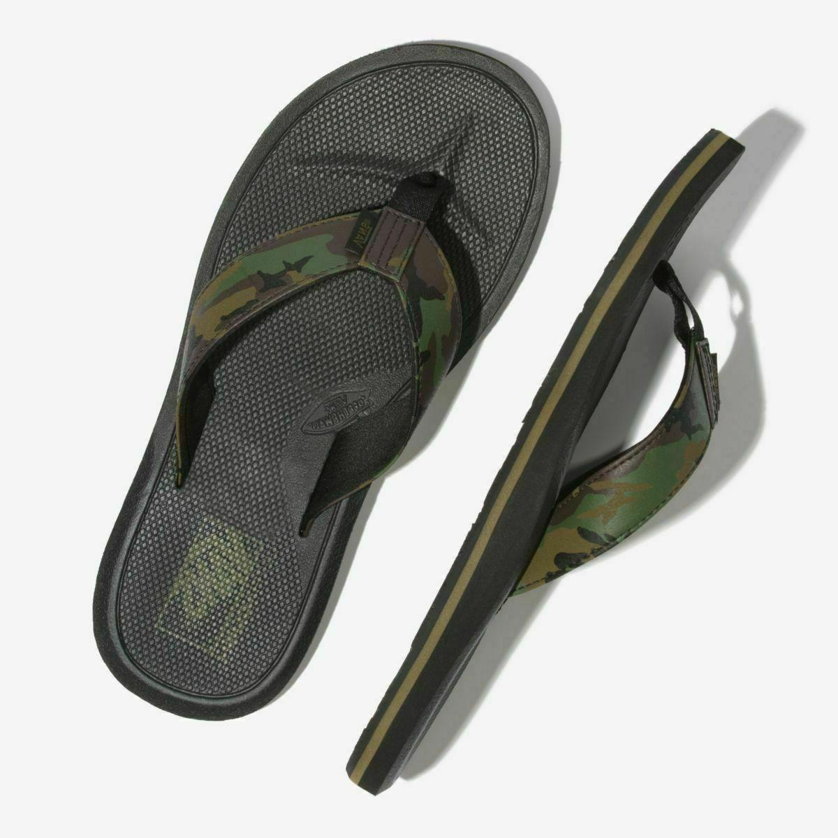 NWT SYNTHETIC FLIP FLOPS CAMO BLACK GREEN Shoes