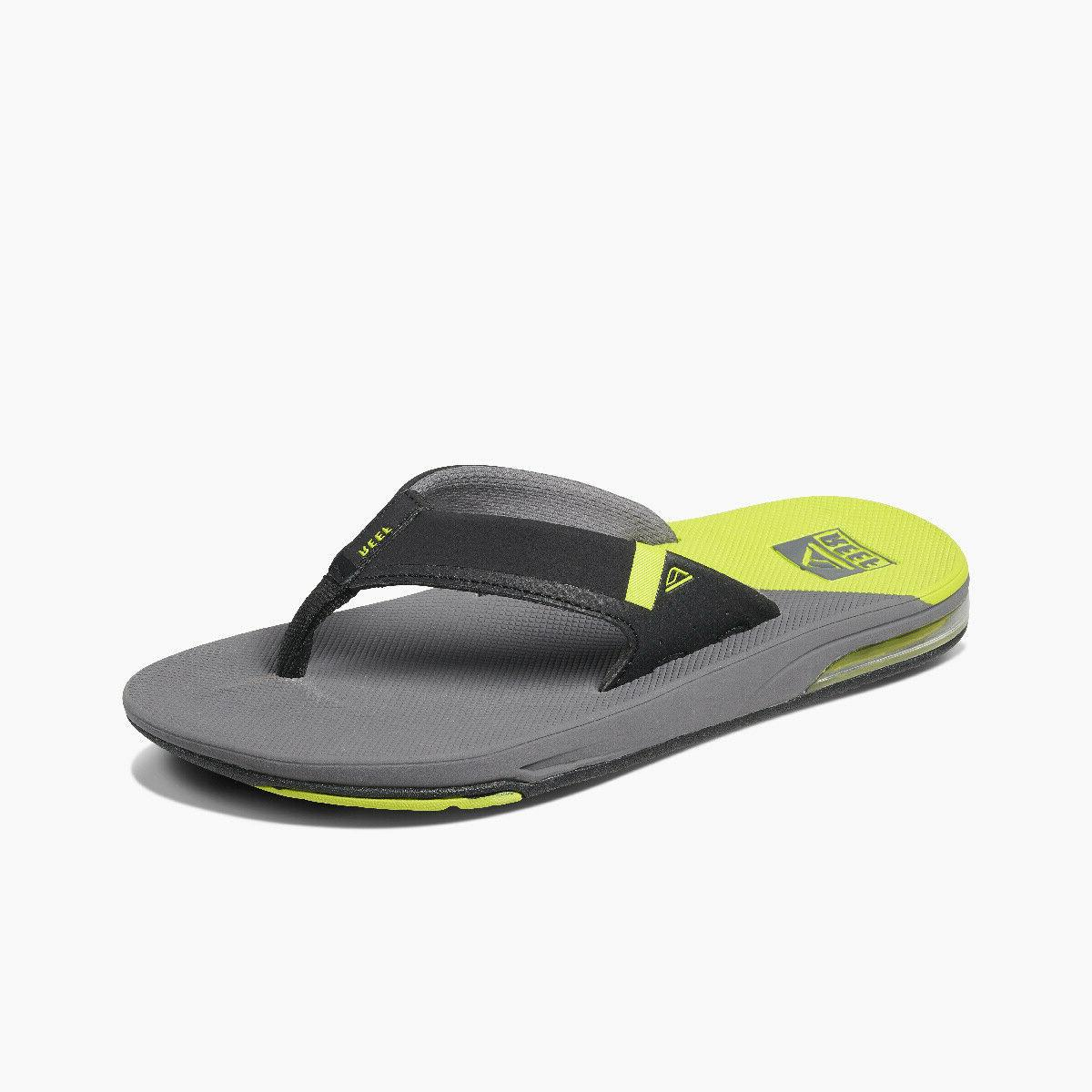 Reef Men's Fanning Low Bottle Opener Flip Flops - Grey/Lime