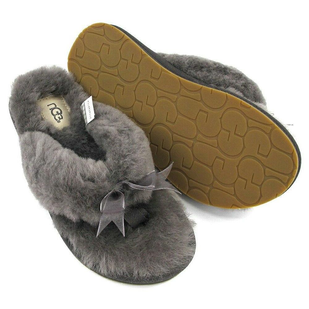 UGG Flops Slide Shoes w Bow Grey Pink