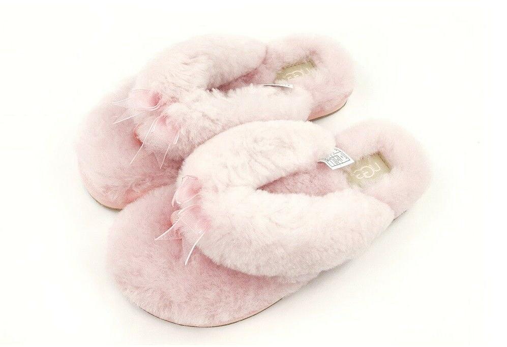 UGG Soft Fluff Flops Shoes Pink Natural