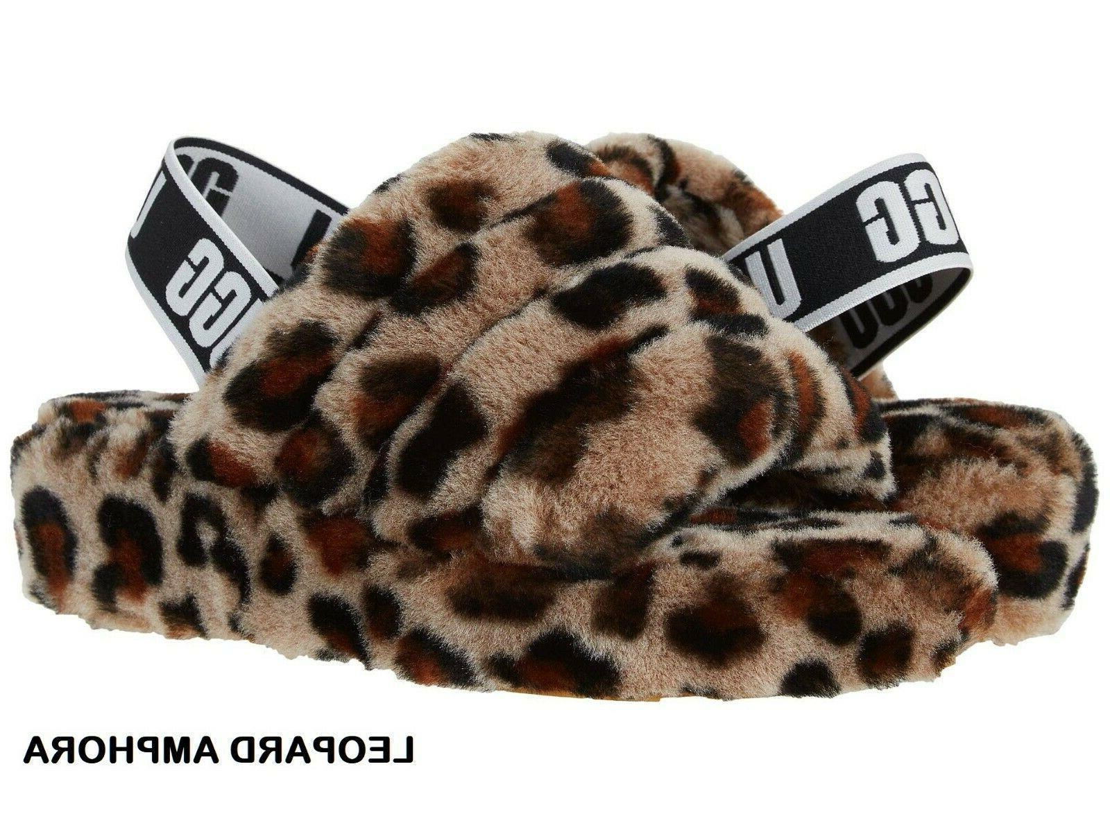 UGG Soft Yeah Slide Sandal Charcoal Leopard+