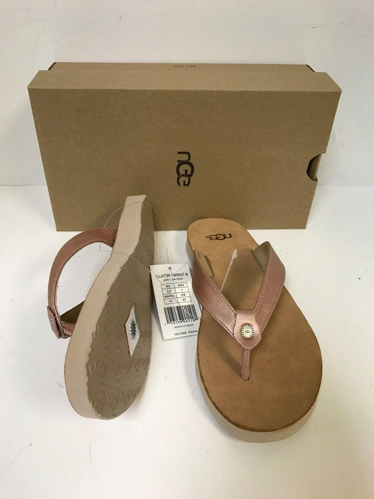 UGG Tawney Metallic Gold Sandal Size