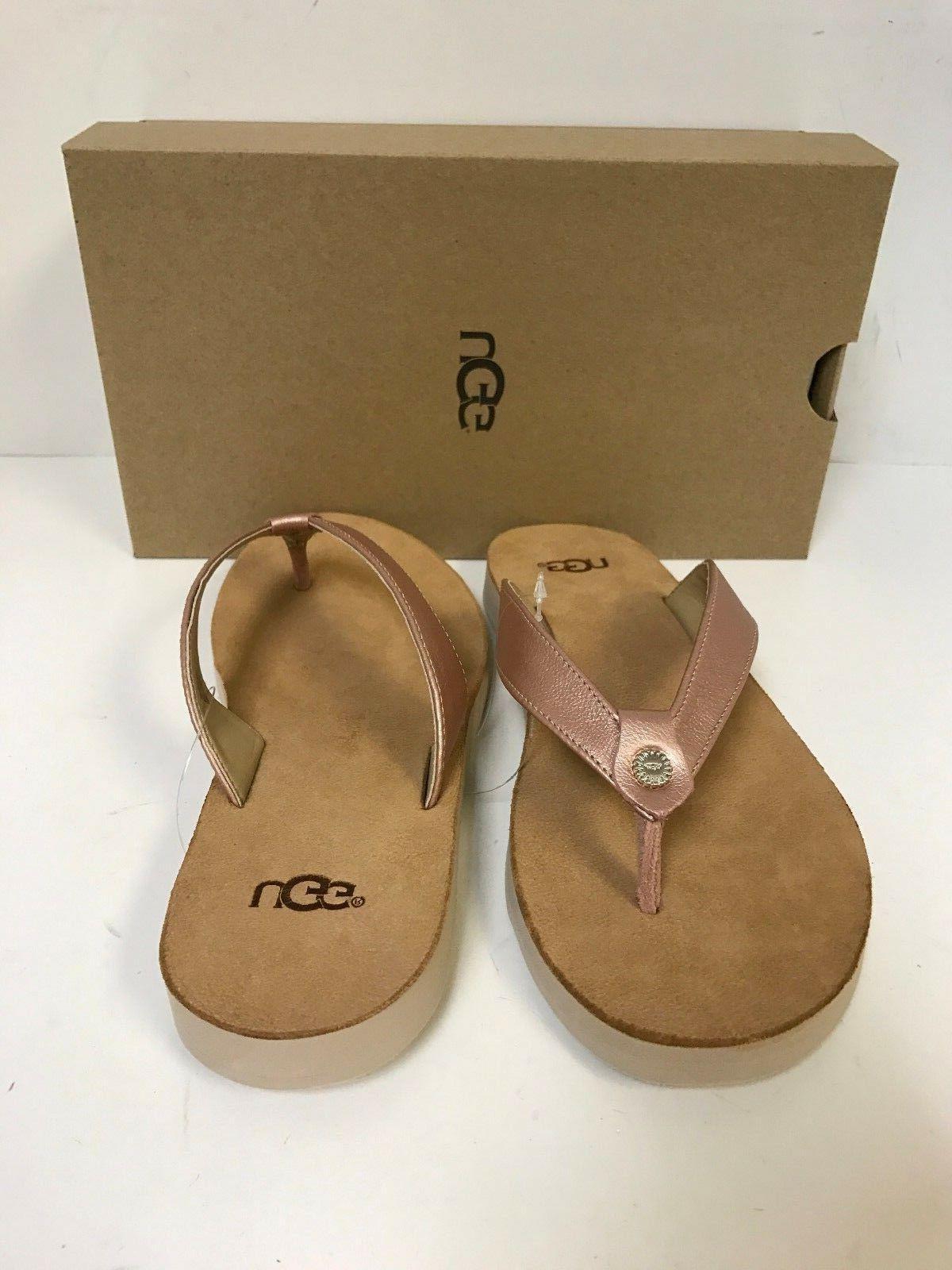 UGG Tawney Metallic Gold Flip Sandal Size