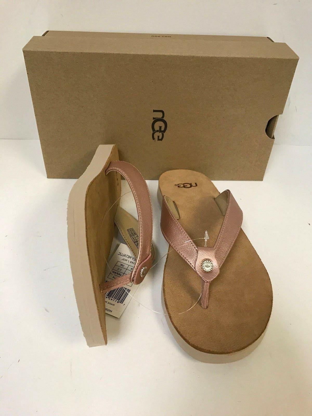UGG Tawney Metallic Gold Flop Sandal Women's Size