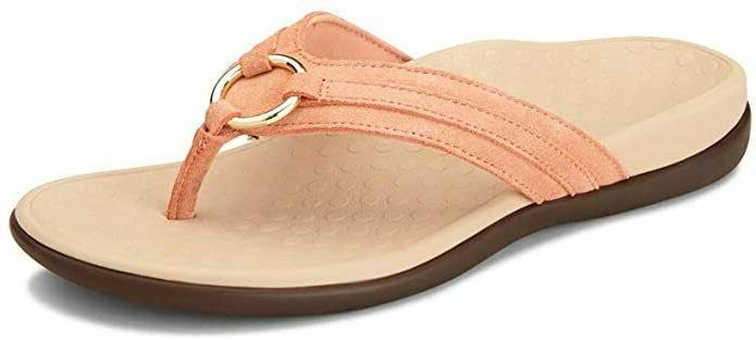Vionic Tide Aloe Leather Navy Toe-Post Sandal Flip Flop Wome