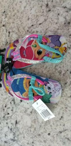 Toddler Shimmer and Shine Flip Flops Sz. 7/8 NWT