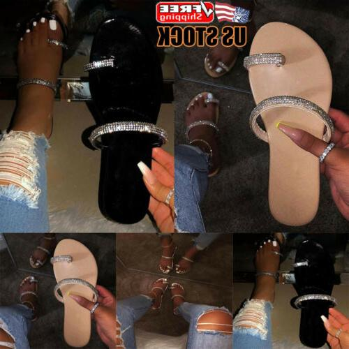 women diamante slip on sandals slipper ladies