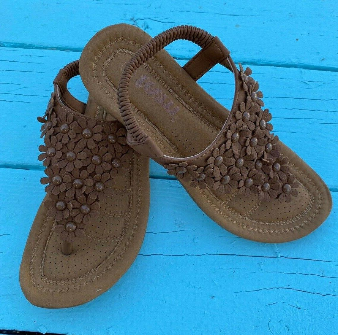 Women Flat Sandals Summer Flip Shoes Tan