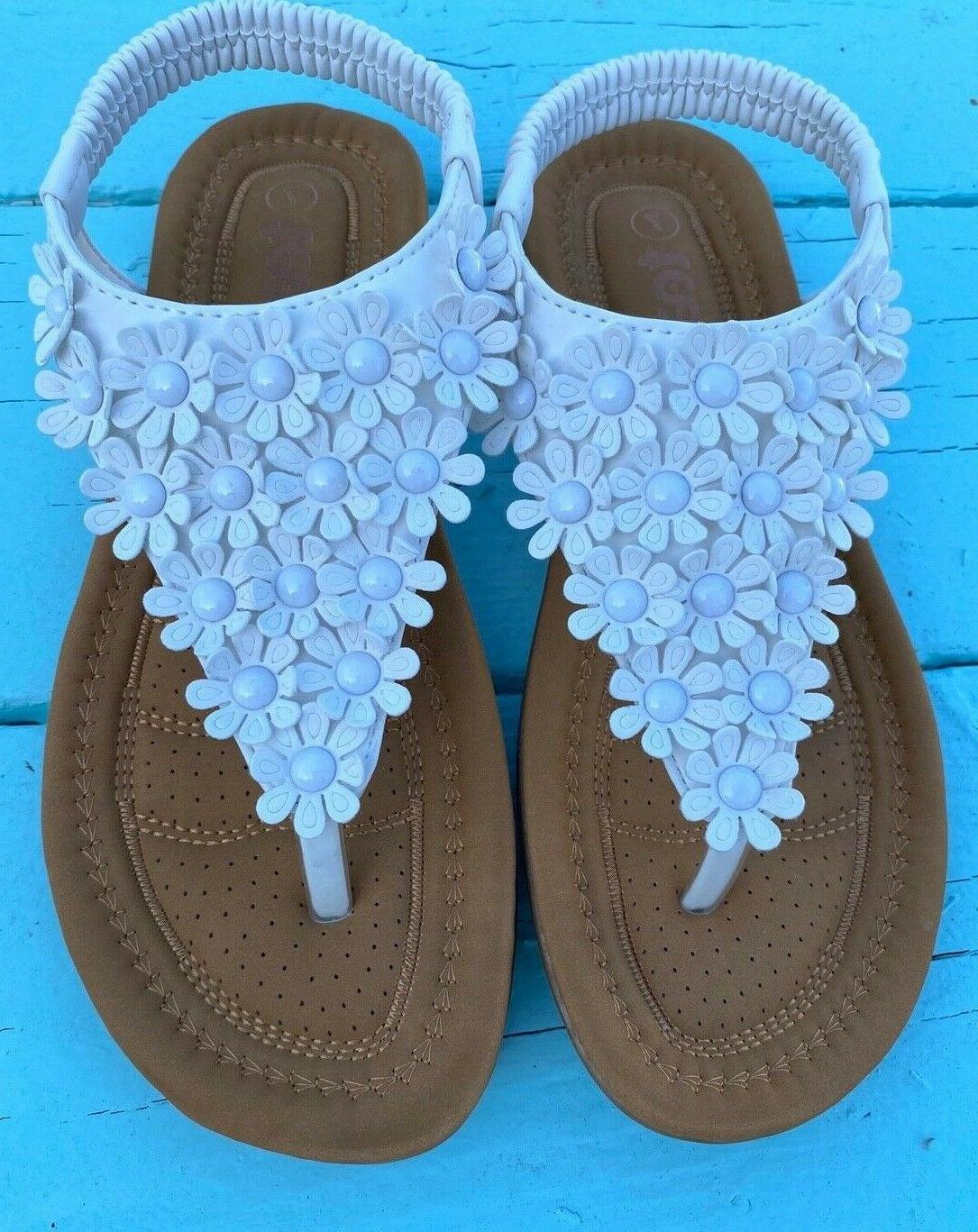 Women Flat Sandals Summer Flip Flops Tan size
