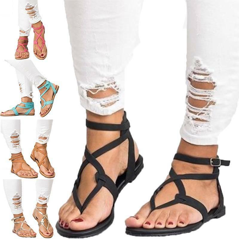 Womens Flat Gladiator Flip Slides Beach Shoes