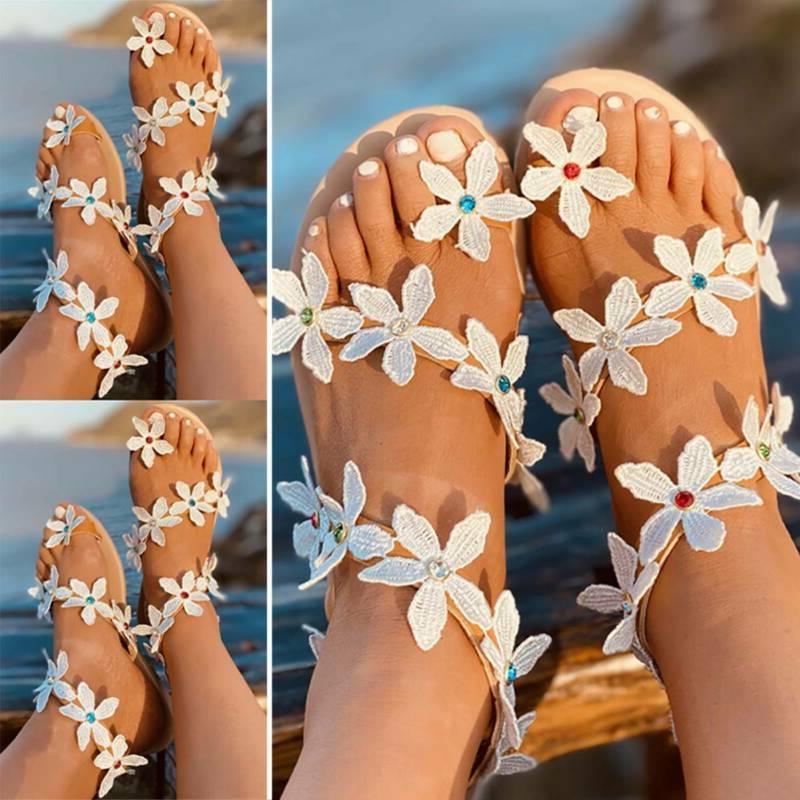 Womens Flat Slippers Gladiator Flops Slides Shoes