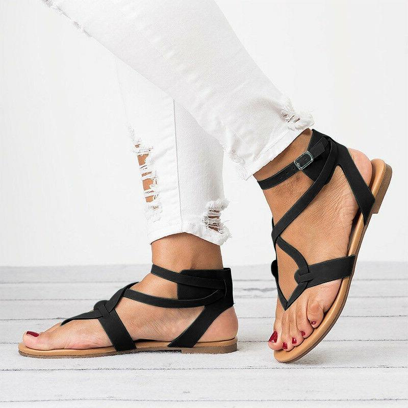 Women Gladiator Roman Flip Ankle Toe Shoes
