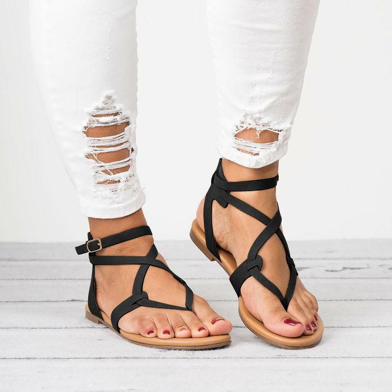 Women Gladiator Roman Flip Flops Ankle Strappy Open Toe Shoes